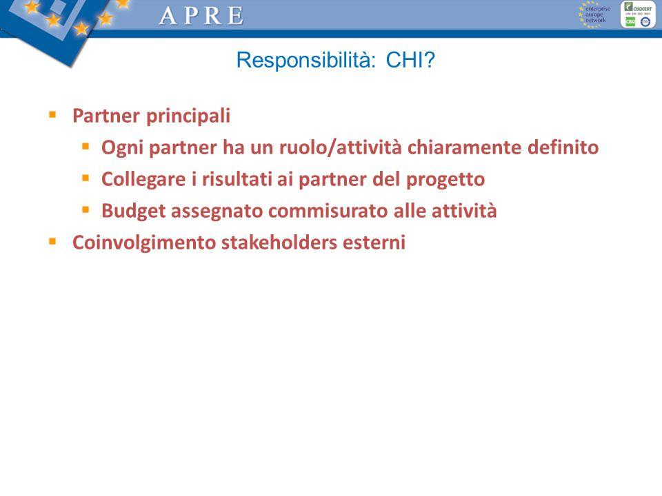 Responsibilità: CHI Partner principali. Ogni partner ha un ruolo/attività chiaramente definito. Collegare i risultati ai partner del progetto.