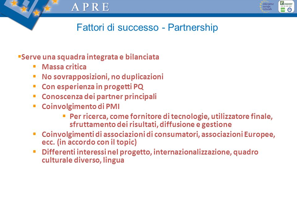 Fattori di successo - Partnership