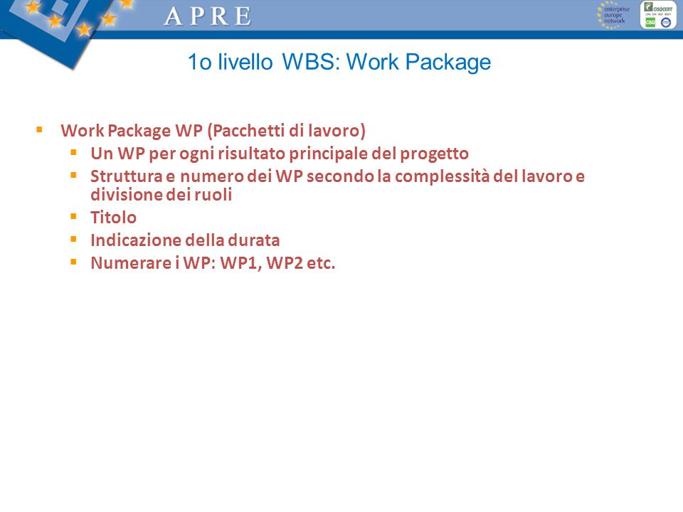 1o livello WBS: Work Package