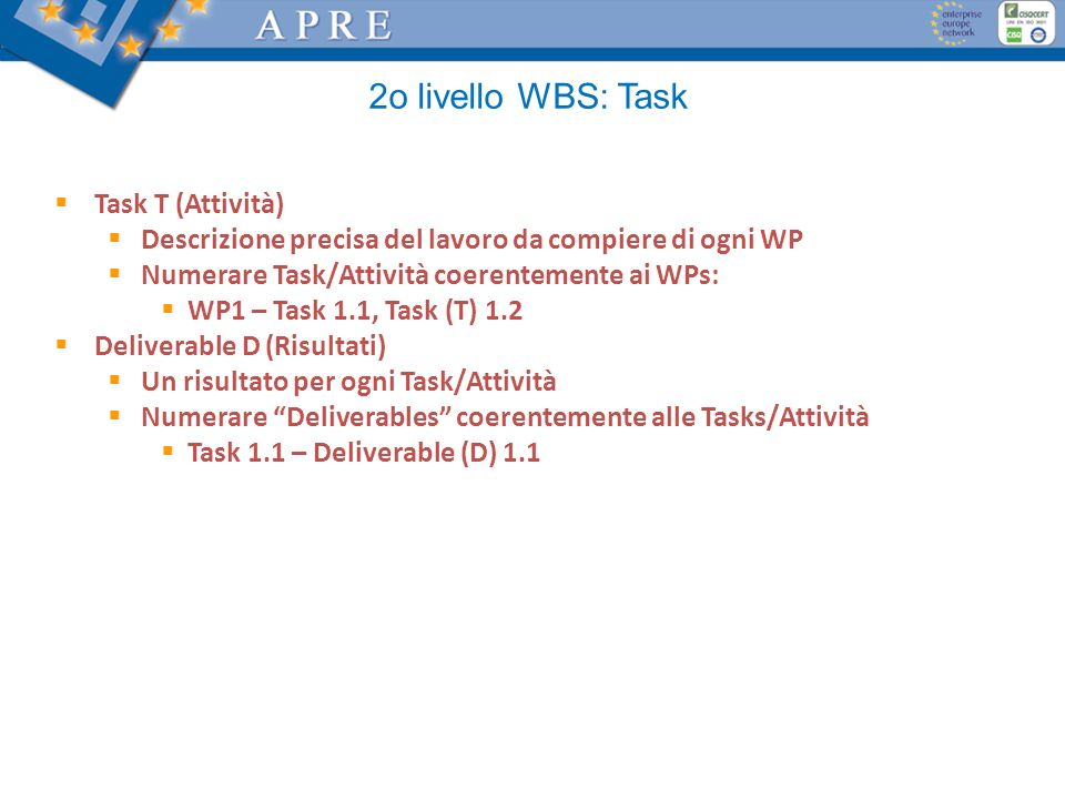 2o livello WBS: Task Task T (Attività)