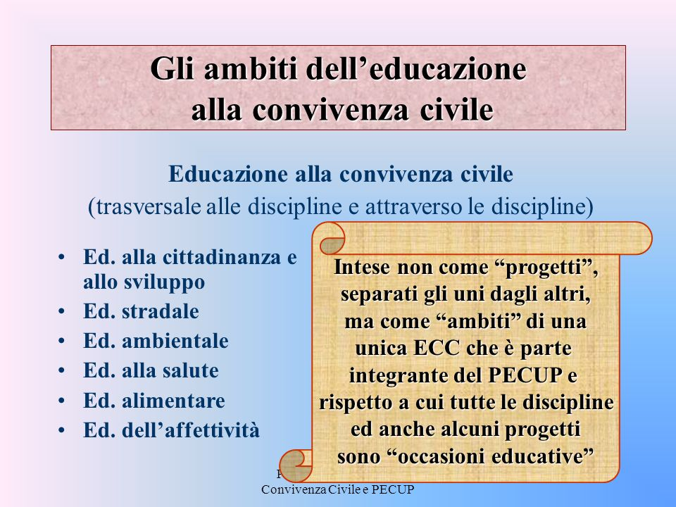 Gli ambiti dell'educazione alla convivenza civile