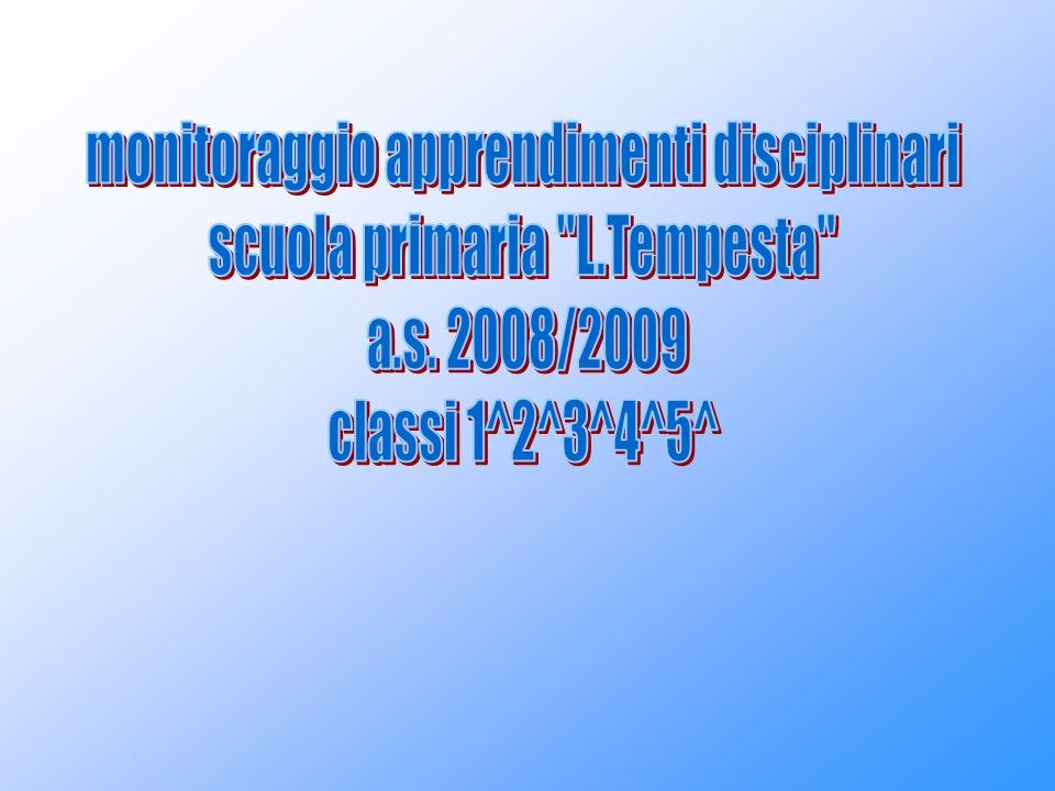monitoraggio apprendimenti disciplinari scuola primaria L.Tempesta