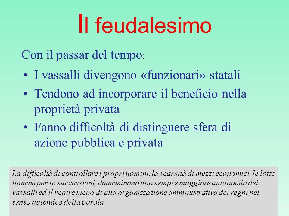 Il feudalesimo I vassalli divengono «funzionari» statali