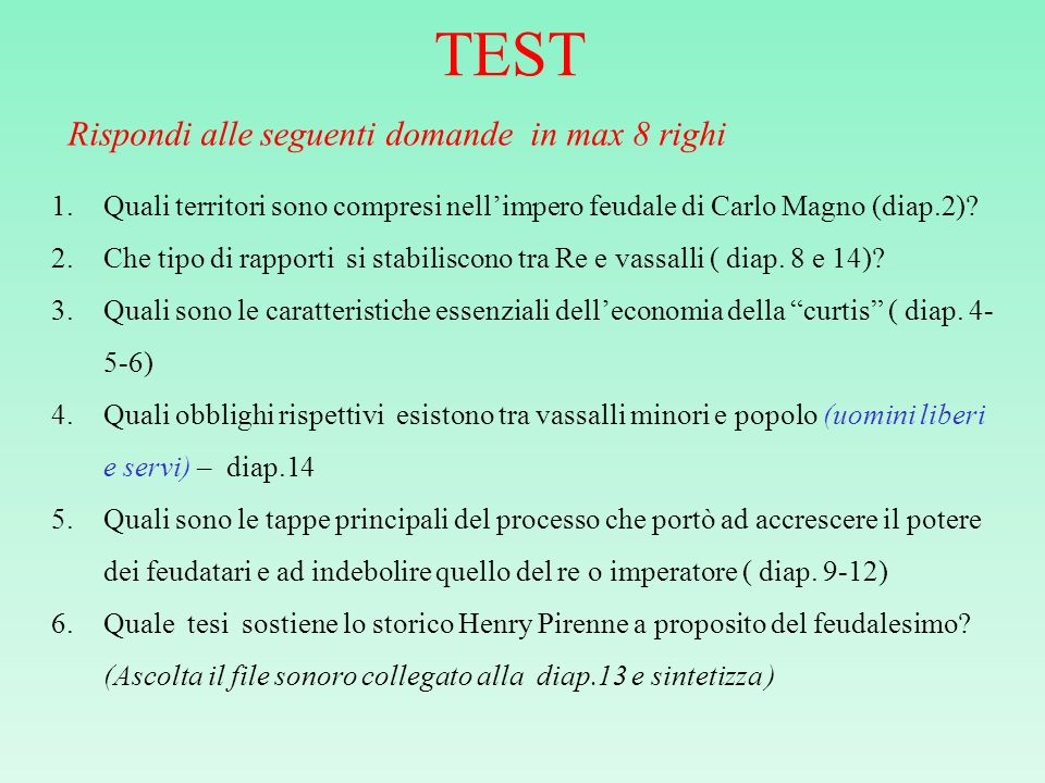 TEST Rispondi alle seguenti domande in max 8 righi