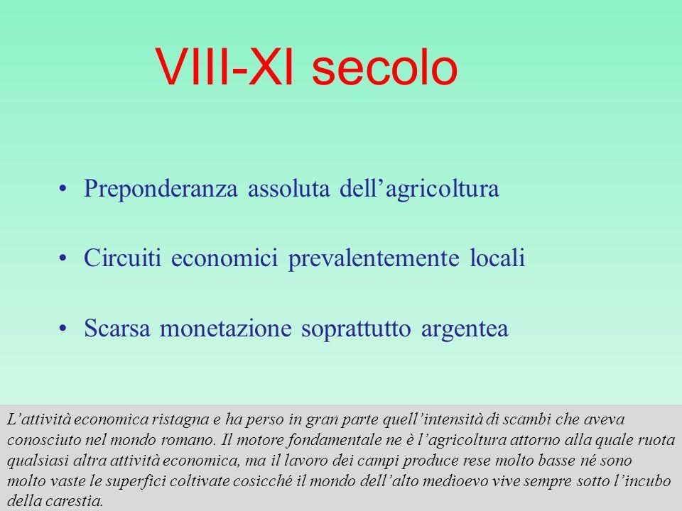 VIII-XI secolo Preponderanza assoluta dell'agricoltura