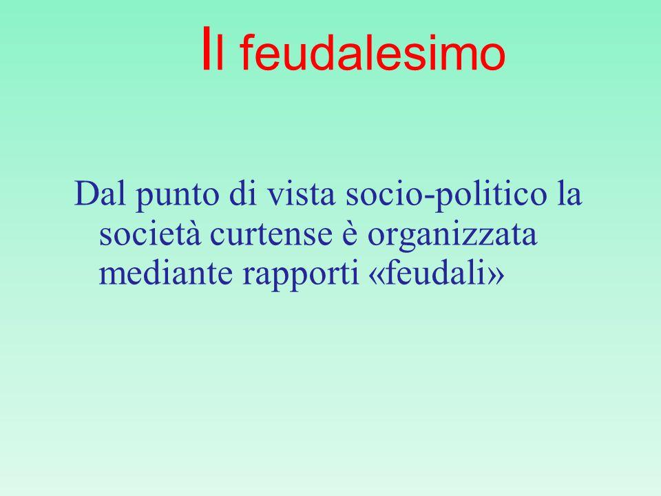 Il feudalesimo Dal punto di vista socio-politico la società curtense è organizzata mediante rapporti «feudali»
