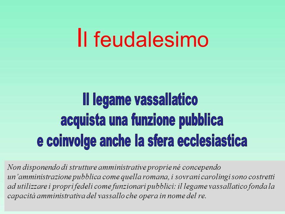 Il feudalesimo Il legame vassallatico acquista una funzione pubblica