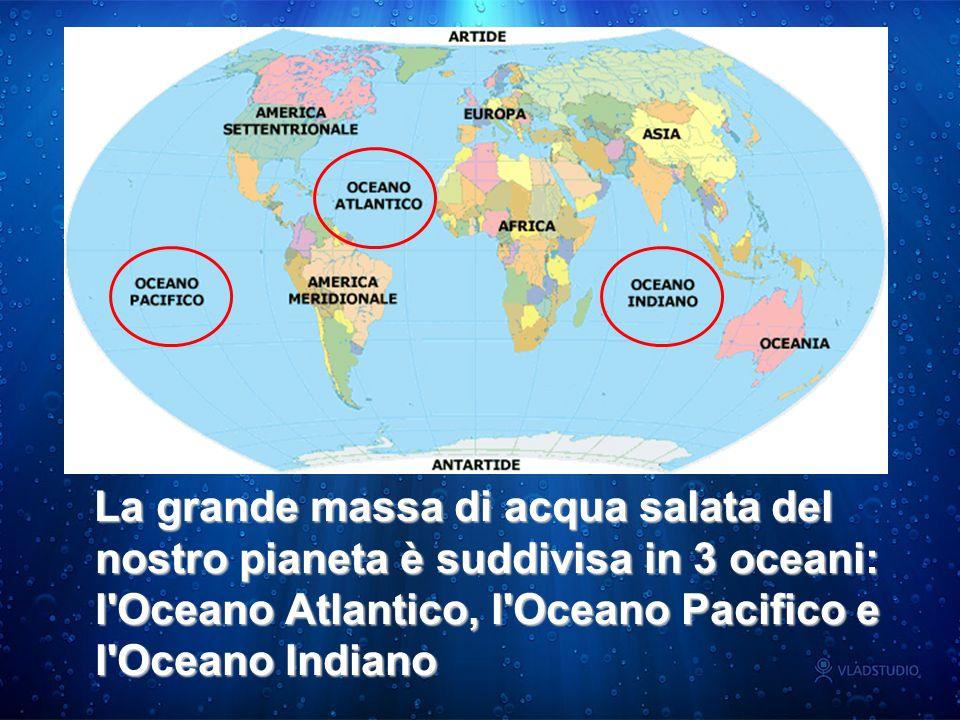 La grande massa di acqua salata del nostro pianeta è suddivisa in 3 oceani: l Oceano Atlantico, l Oceano Pacifico e l Oceano Indiano