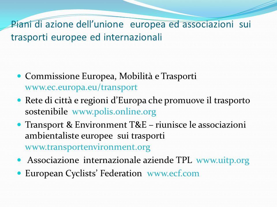 Piani di azione dell'unione europea ed associazioni sui trasporti europee ed internazionali