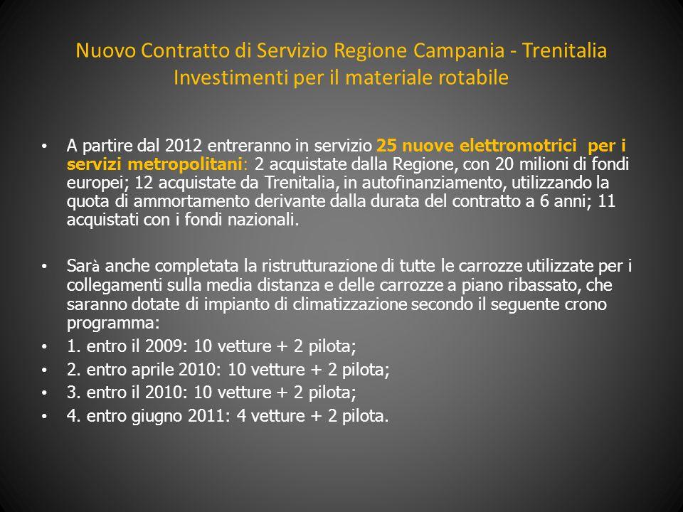 Nuovo Contratto di Servizio Regione Campania - Trenitalia Investimenti per il materiale rotabile