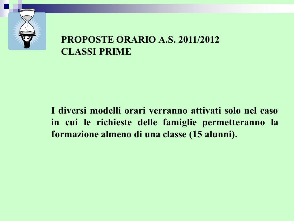 PROPOSTE ORARIO A.S. 2011/2012 CLASSI PRIME.