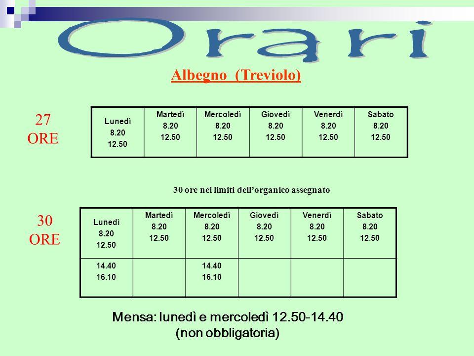 Orari Albegno (Treviolo) 27 ORE 30 ORE