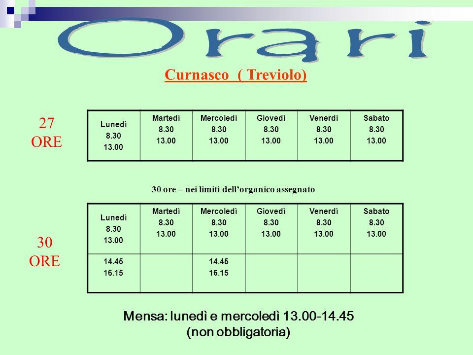 Mensa: lunedì e mercoledì 13.00-14.45