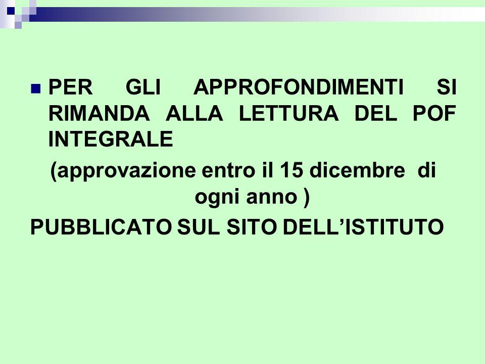 (approvazione entro il 15 dicembre di ogni anno )