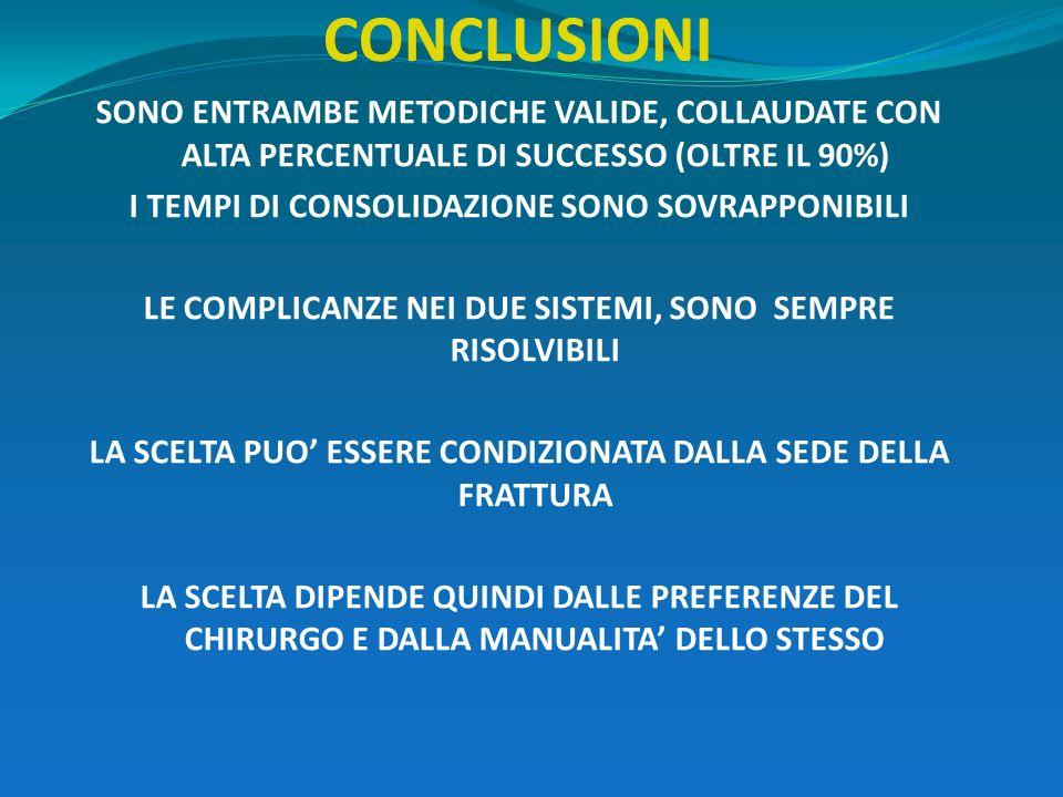 CONCLUSIONI SONO ENTRAMBE METODICHE VALIDE, COLLAUDATE CON ALTA PERCENTUALE DI SUCCESSO (OLTRE IL 90%)