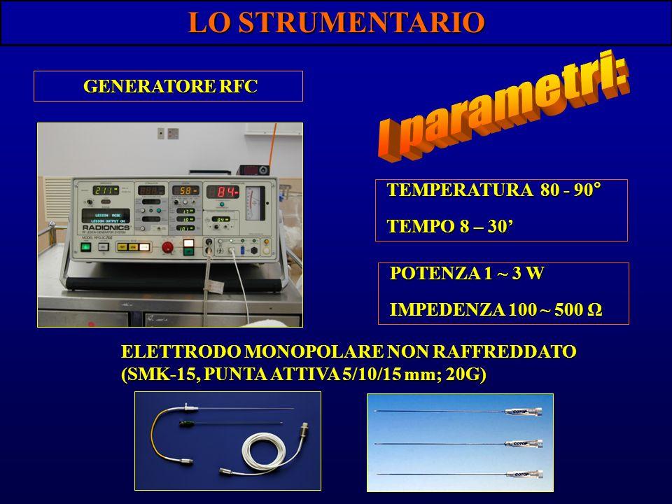 I parametri: LO STRUMENTARIO GENERATORE RFC TEMPERATURA 80 - 90°