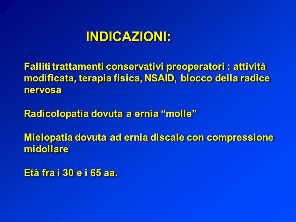 INDICAZIONI: Falliti trattamenti conservativi preoperatori : attività modificata, terapia fisica, NSAID, blocco della radice nervosa.