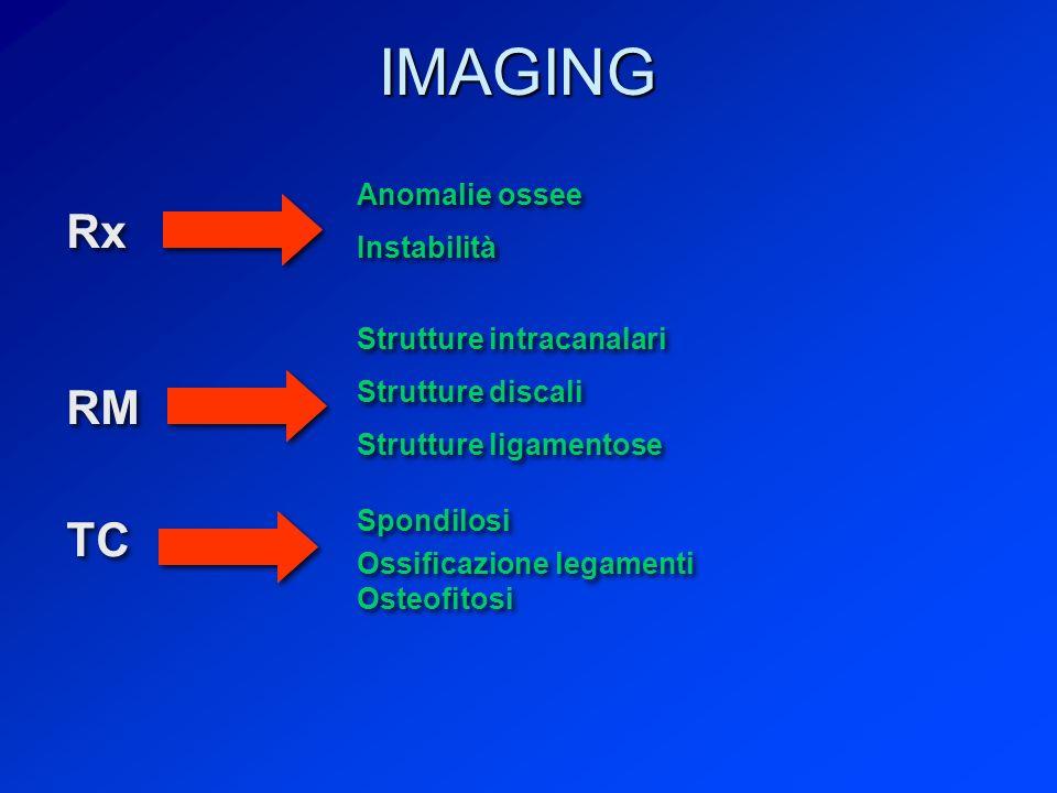 IMAGING Rx RM TC Anomalie ossee Instabilità Strutture intracanalari