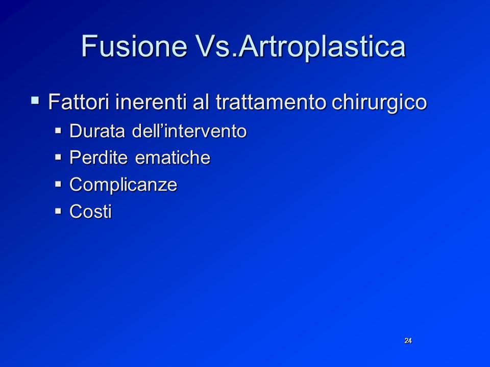 Fusione Vs.Artroplastica