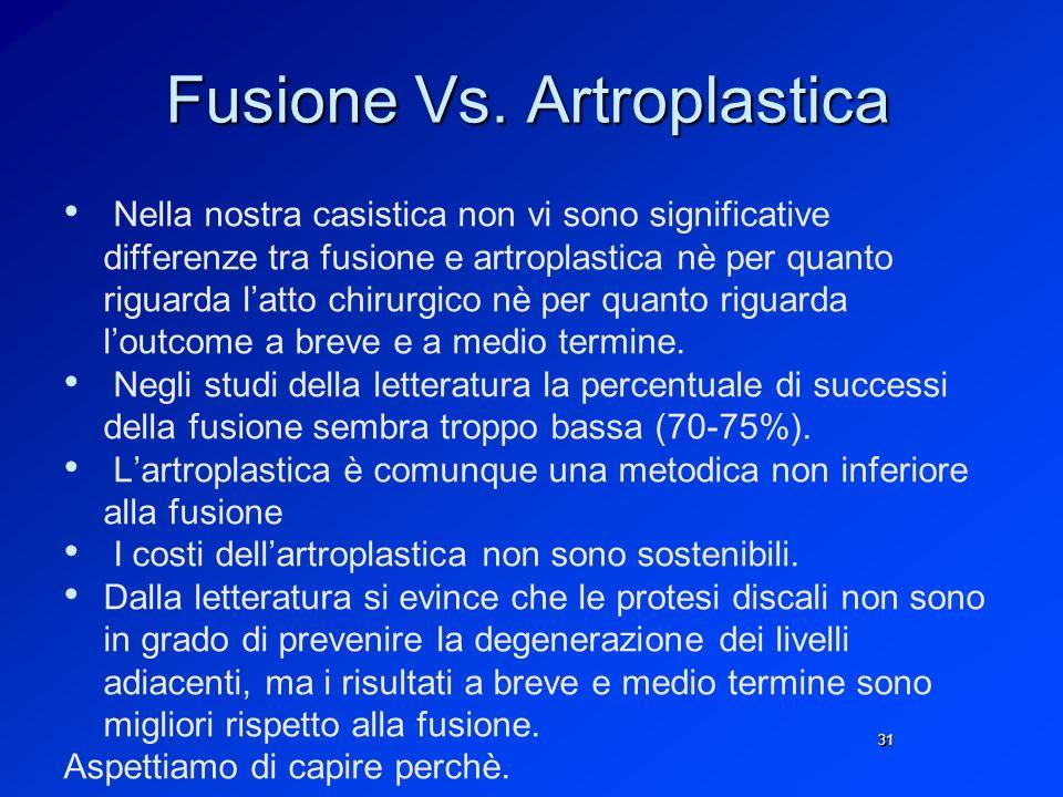 Fusione Vs. Artroplastica