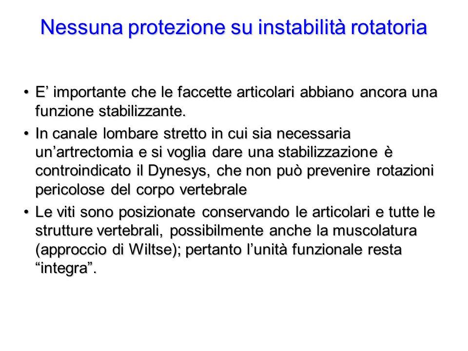 Nessuna protezione su instabilità rotatoria