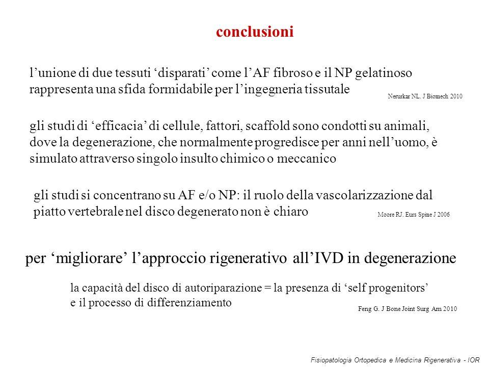 per 'migliorare' l'approccio rigenerativo all'IVD in degenerazione
