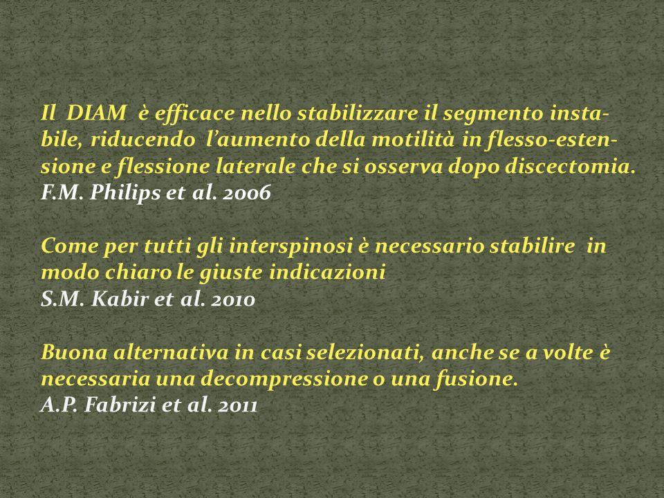 Il DIAM è efficace nello stabilizzare il segmento insta-