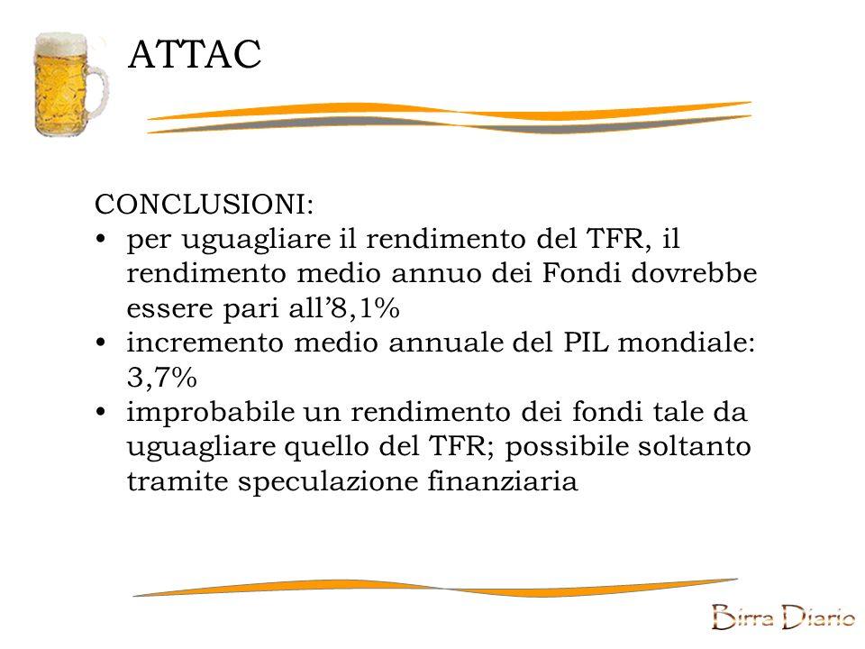 ATTAC CONCLUSIONI: per uguagliare il rendimento del TFR, il rendimento medio annuo dei Fondi dovrebbe essere pari all'8,1%