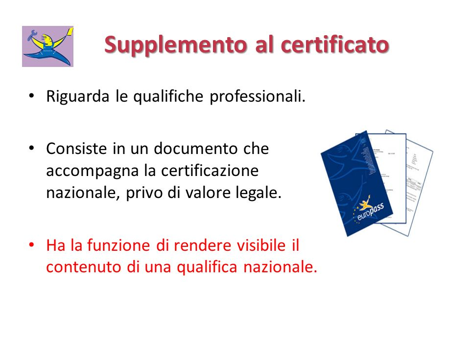 Supplemento al certificato