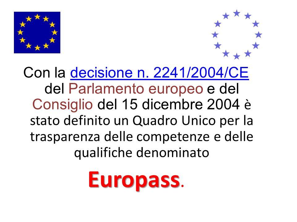 Con la decisione n. 2241/2004/CE del Parlamento europeo e del Consiglio del 15 dicembre 2004 è stato definito un Quadro Unico per la trasparenza delle competenze e delle qualifiche denominato