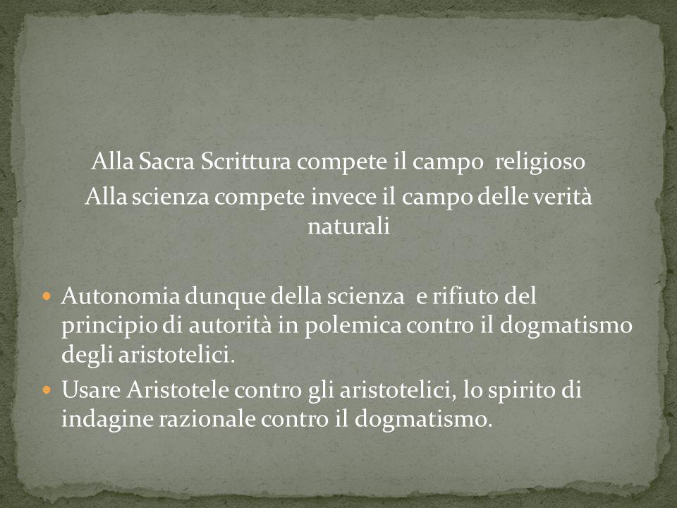 Alla Sacra Scrittura compete il campo religioso