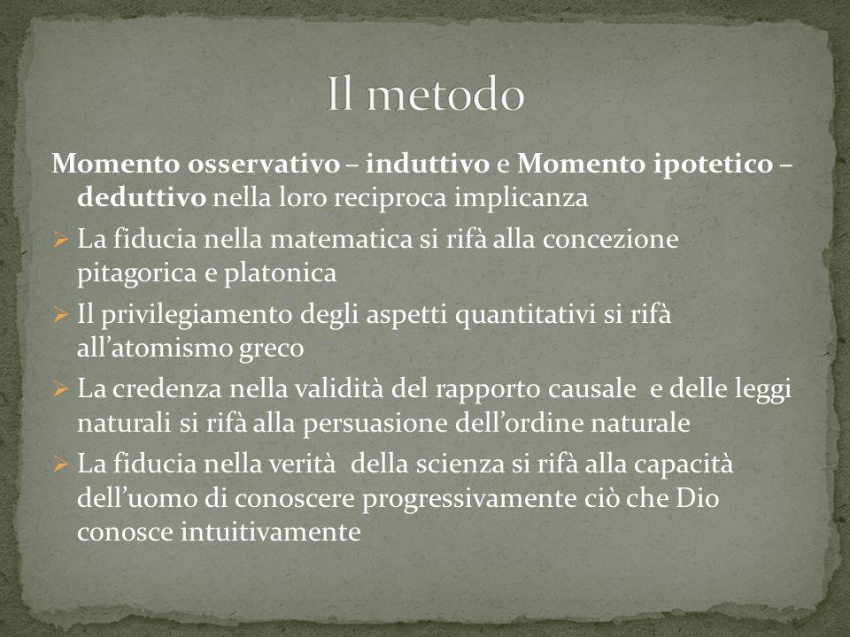 Il metodo Momento osservativo – induttivo e Momento ipotetico – deduttivo nella loro reciproca implicanza.