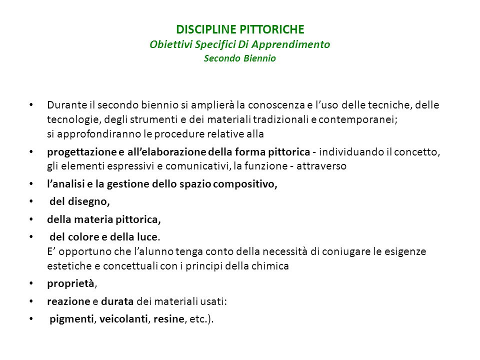 DISCIPLINE PITTORICHE Obiettivi Specifici Di Apprendimento Secondo Biennio