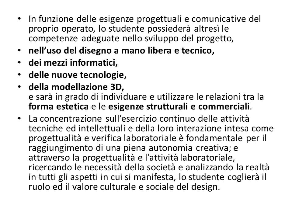 In funzione delle esigenze progettuali e comunicative del proprio operato, lo studente possiederà altresì le competenze adeguate nello sviluppo del progetto,