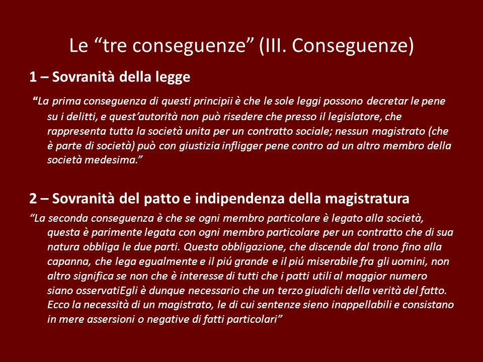 Le tre conseguenze (III. Conseguenze)