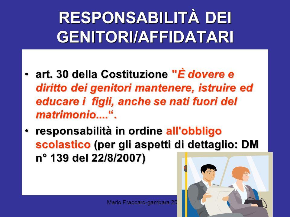 RESPONSABILITÀ DEI GENITORI/AFFIDATARI