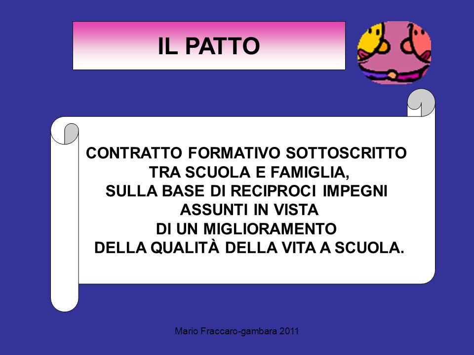 IL PATTO CONTRATTO FORMATIVO SOTTOSCRITTO TRA SCUOLA E FAMIGLIA,