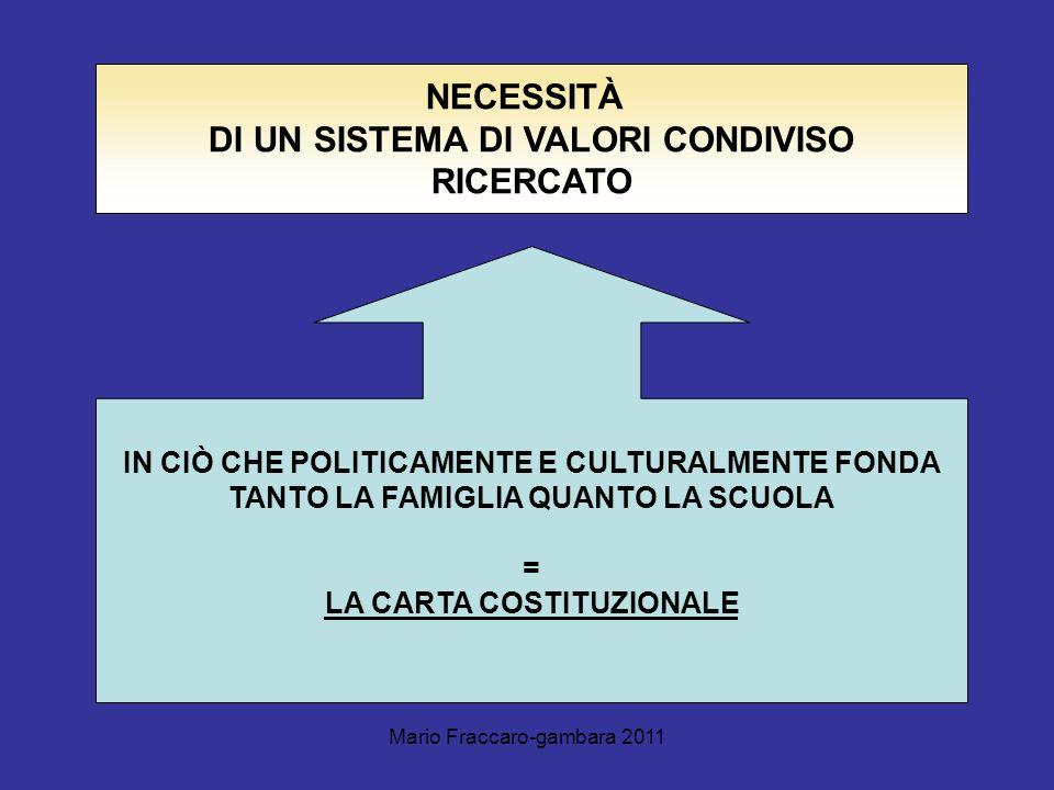 NECESSITÀ DI UN SISTEMA DI VALORI CONDIVISO RICERCATO