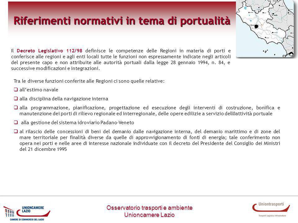 Riferimenti normativi in tema di portualità
