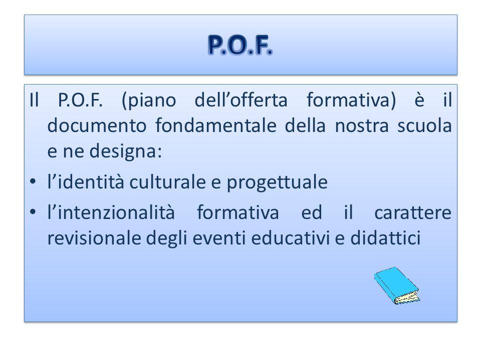 P.O.F. Il P.O.F. (piano dell'offerta formativa) è il documento fondamentale della nostra scuola e ne designa: