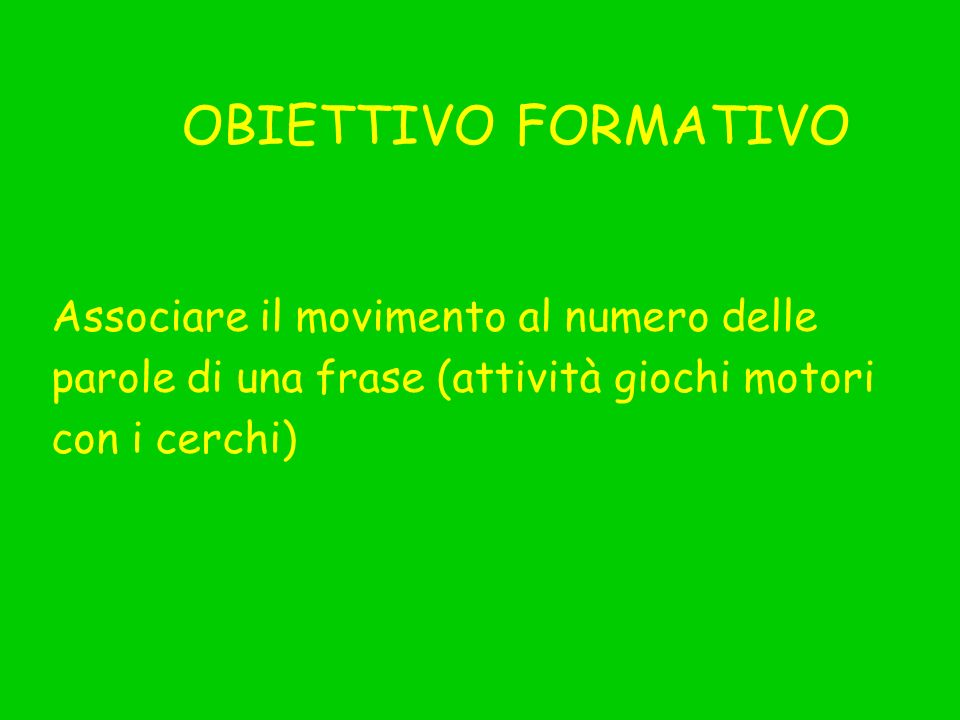 OBIETTIVO FORMATIVOAssociare il movimento al numero delle. parole di una frase (attività giochi motori.
