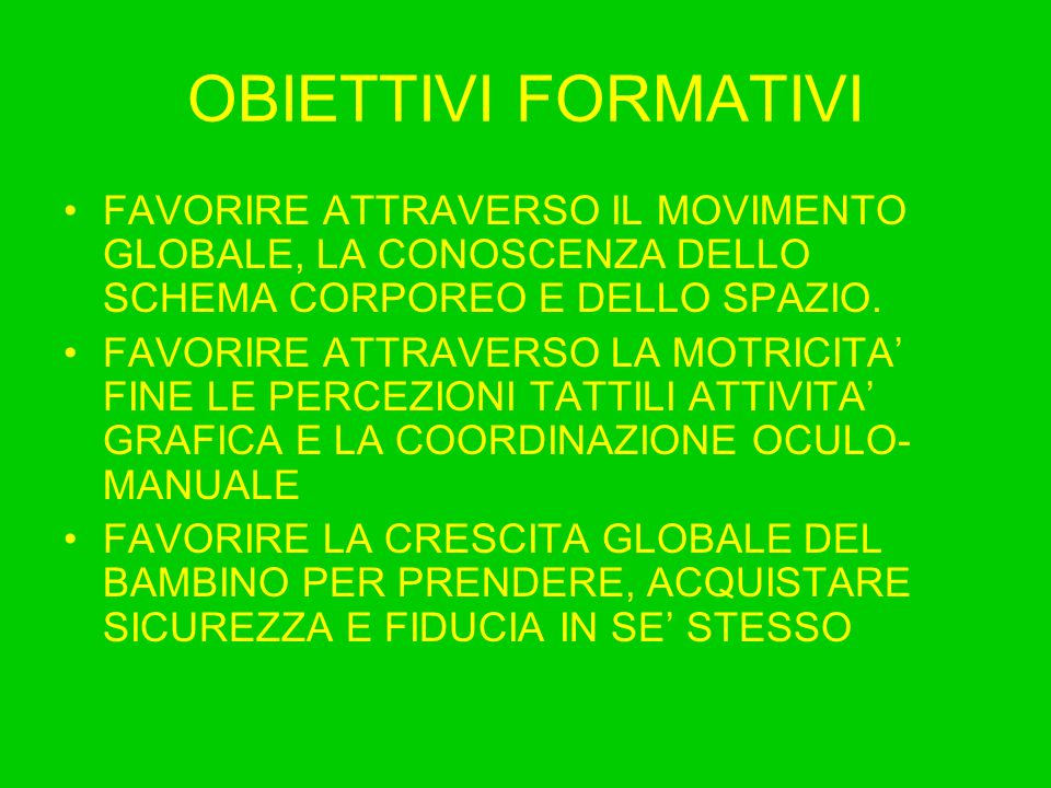 OBIETTIVI FORMATIVIFAVORIRE ATTRAVERSO IL MOVIMENTO GLOBALE, LA CONOSCENZA DELLO SCHEMA CORPOREO E DELLO SPAZIO.
