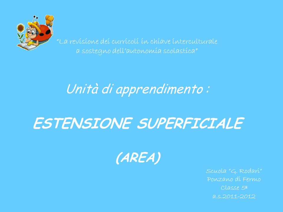 Unità di apprendimento : ESTENSIONE SUPERFICIALE (AREA)