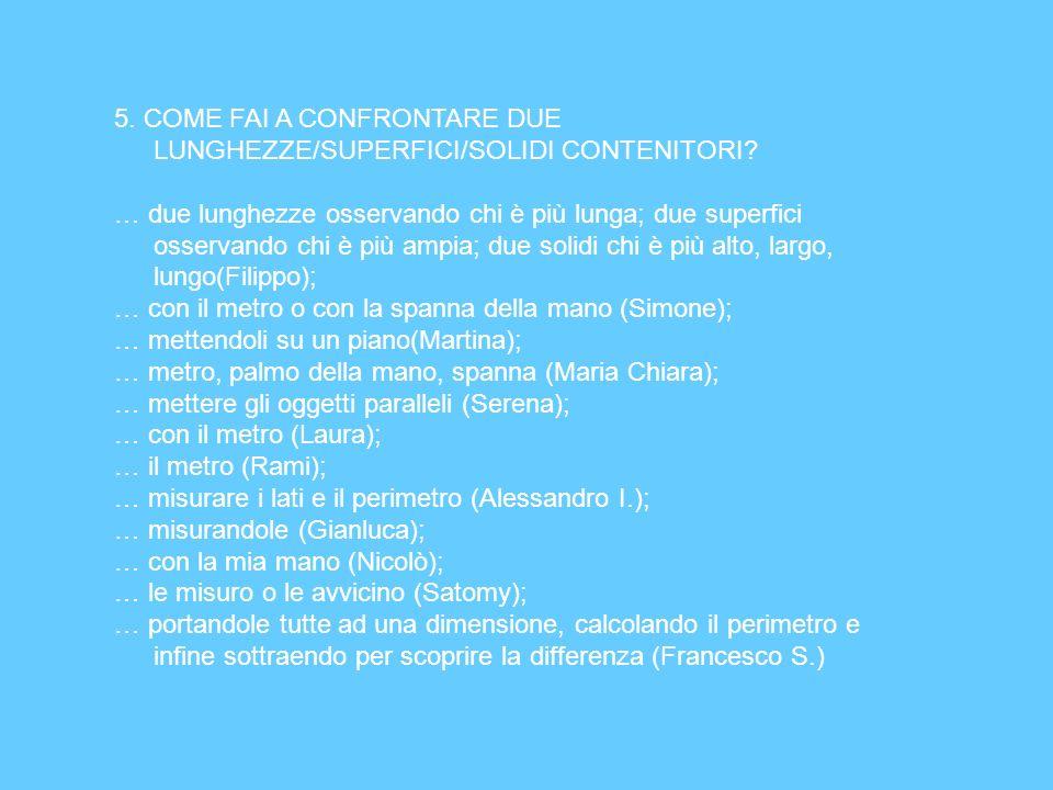 5. COME FAI A CONFRONTARE DUE LUNGHEZZE/SUPERFICI/SOLIDI CONTENITORI