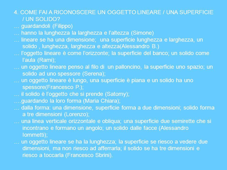 4. COME FAI A RICONOSCERE UN OGGETTO LINEARE / UNA SUPERFICIE / UN SOLIDO