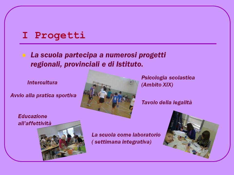 I Progetti La scuola partecipa a numerosi progetti regionali, provinciali e di Istituto. Psicologia scolastica (Ambito XIX)