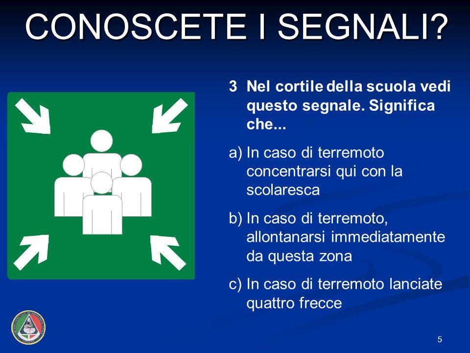 CONOSCETE I SEGNALI 3 Nel cortile della scuola vedi questo segnale. Significa che... a) In caso di terremoto concentrarsi qui con la scolaresca.