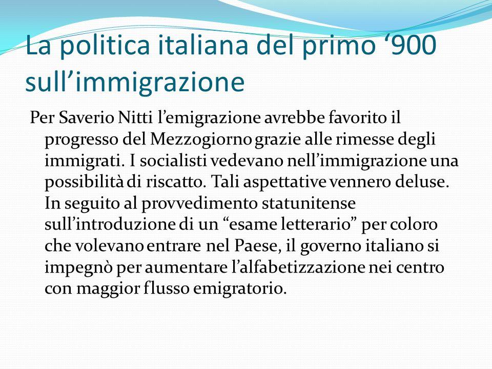 La politica italiana del primo '900 sull'immigrazione