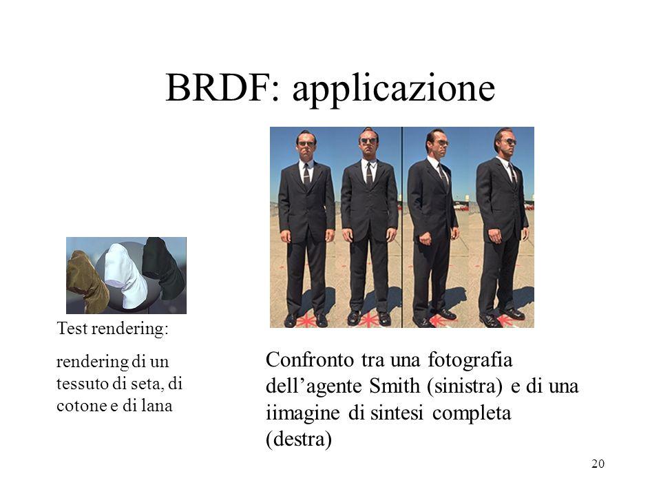 BRDF: applicazione Test rendering: rendering di un tessuto di seta, di cotone e di lana.