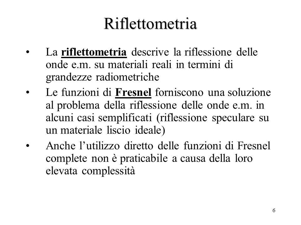 Riflettometria La riflettometria descrive la riflessione delle onde e.m. su materiali reali in termini di grandezze radiometriche.